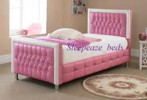 pink leather bed with mattress memory foam single