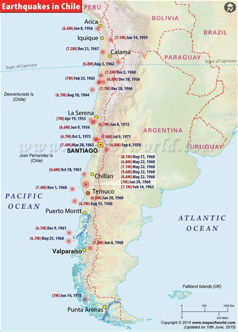 chile earthquake map areas affected  earthquakes  chile