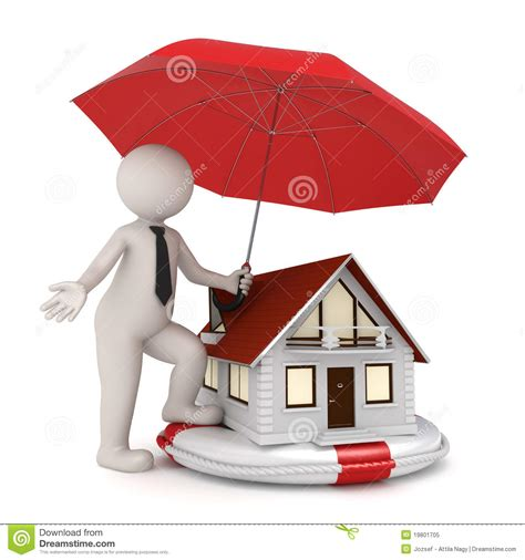 insurance on a house house insurance 3d business man royalty free stock photo image 19801705