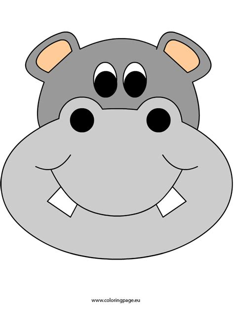 printable rhino mask hippo clipart mask pencil and in color hippo clipart mask