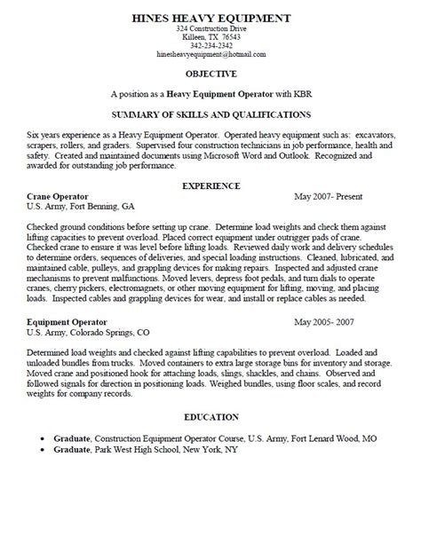 heavy equipment operator resume sles heavy equipment operator description heavy equipment