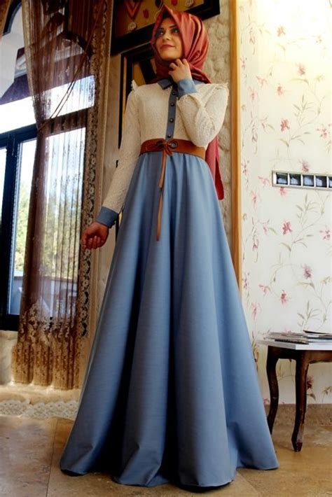 Sholeha Dress gamze polat mavi stil dantelli kot elbise cook g 252 zel x