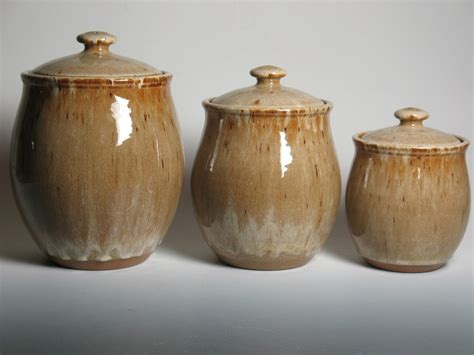 pottery canister set kitchen canisters stoneware 3