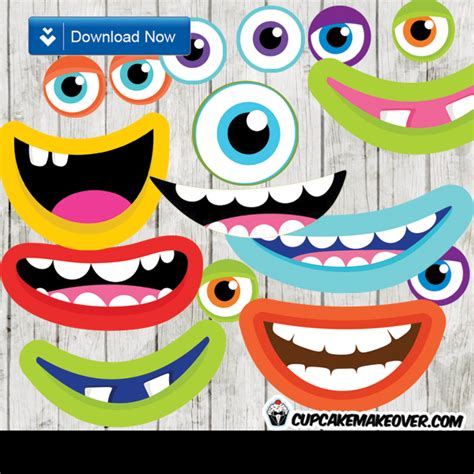free printable monster photo booth props monsters photo props party decorations instant download