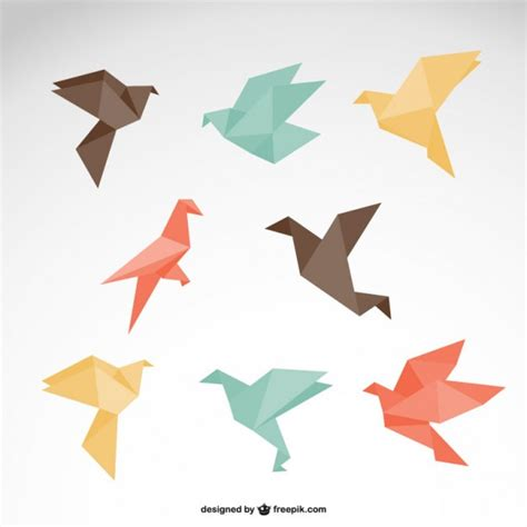 How To Make Bird Using Paper - origami birds collection vector free
