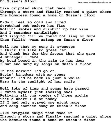 Lyrics Of On The Floor by On Susan S Floor By Gordon Lightfoot Lyrics