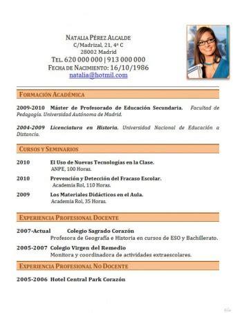 Modelo De Curriculum Vitae Para Trabajo De Docente Curr 237 Culum Madrat Co
