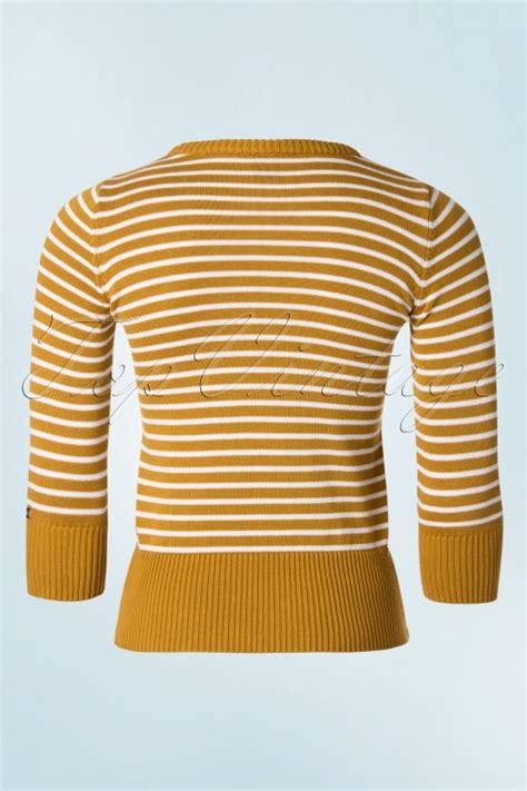 Yellow White Stripes Top 60s moi top in yellow and white stripes