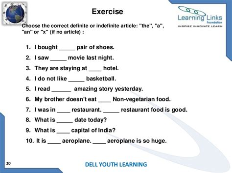 grammar exercise the definite and indefinite articles articles topic prepositions