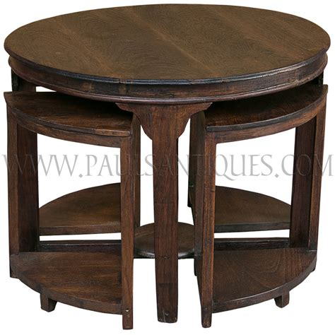 center tables round burmese teak art deco center table with small side