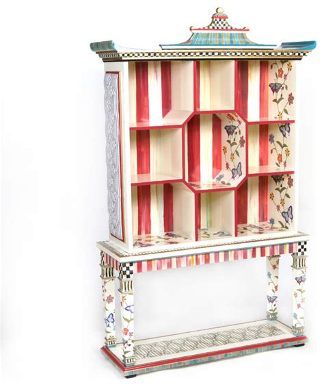 butterfly pagoda bookshelf with console table mackenzie