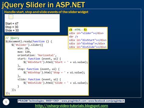 tutorial asp net c sharp sql server net and c video tutorial jquery slider in