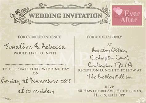 wedding invite postcard style vintage postcard wedding invitations uk matik for