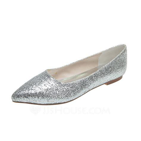 Flat Shoes Glit Silver 1 s sparkling glitter flat heel closed toe flats 047053917 wedding shoes jjshouse