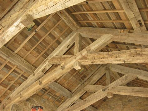 large timber trusses scissor truss with kingpost hand hewn reused beams you