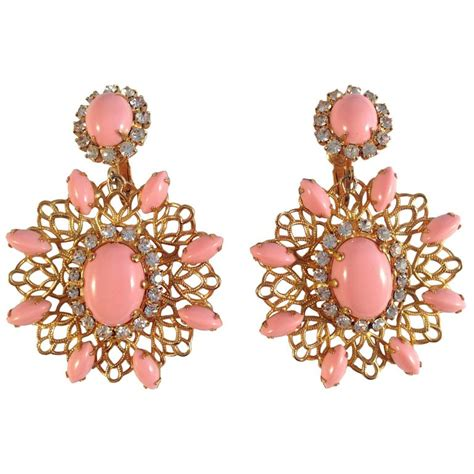 Amazing 1960s Kenneth Jay Lane Pink Chandelier Earrings At Pink Chandelier L