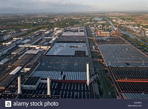 volkswagen germany factory aerial view of the volkswagen plant with factory halls and