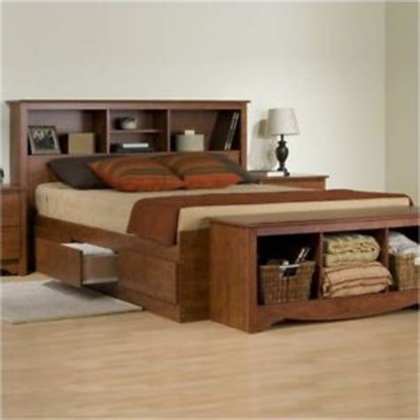 King Size Bed With Shelf Headboard by Cherry 6 Drawer King Size Platform Storage Bed Bookcase Headboard Ebay