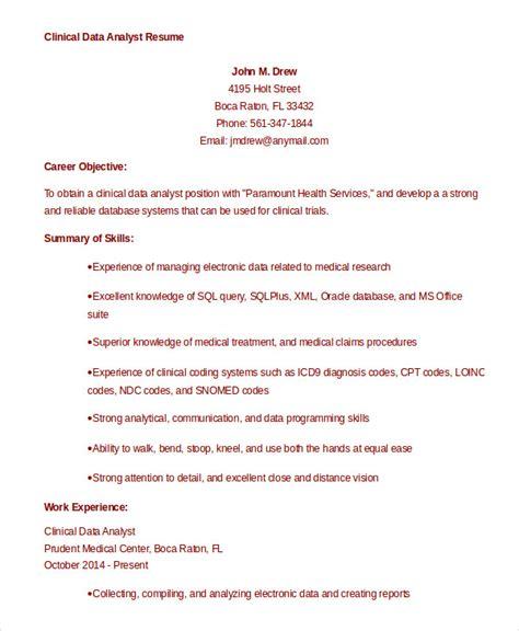 9 data analyst resume exles pdf doc free