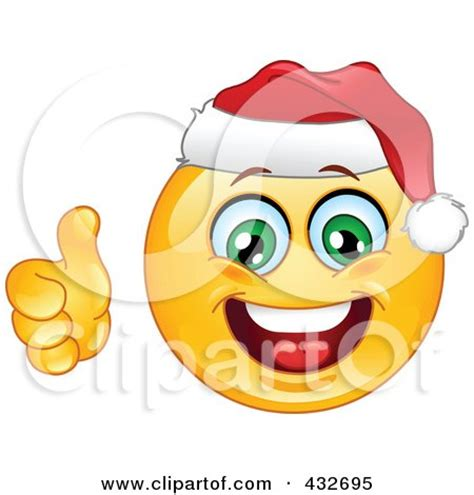 christmas emoticons royalty free rf clipart illustration of a cheerful emoticon wearing a santa hat and