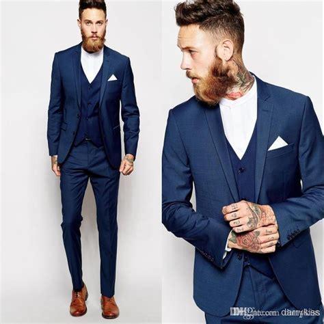 Blue 2015 Groom Tuxedos Slim Fit Best Man Suit Formal