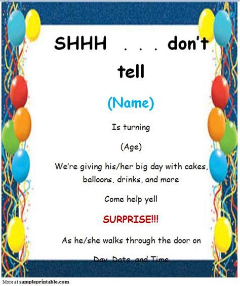 surprise party invitation printable surprise party