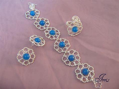 Handmade Bijuterii - set bijuterii handmade din sarma argintata albastru