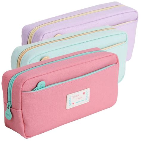 deli fabric pencil holder portable canvas pen cases pink
