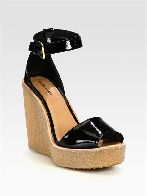 wedge sandals hardy patent leather ankle wedge sandals in