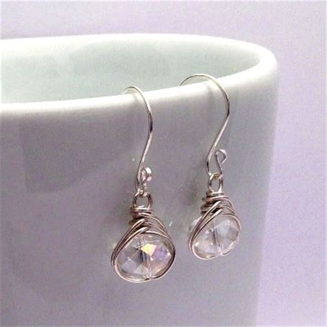 Handmade Wedding Jewellery Uk - sterling silver wire wrapped bridal earrings