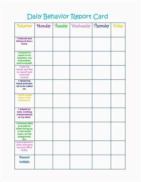 reward card template behavior charts printable for activity shelter