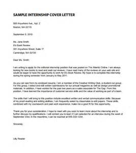 Internship Cover Letter Templates by Cover Letter For An Internship Exles