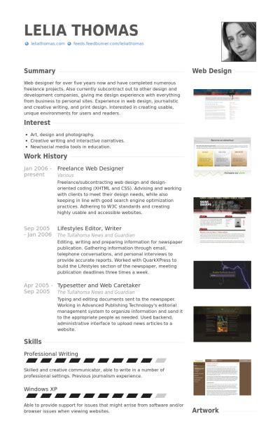 freelance web designer resume sles visualcv resume sles database