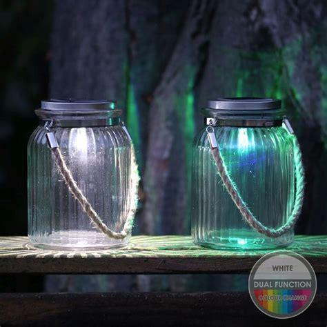 solar rope lights uk solar garden light glass jar with rope buy at qd
