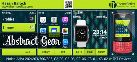 themes reflex nokia c2 02 abstract gear theme for nokia asha 202 203 300 303 c2