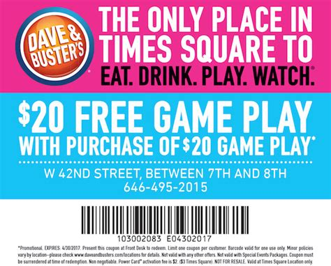 dave and busters printable food coupons dave buster s coupon city guide magazine