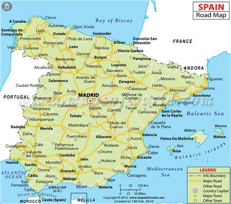 espana map spain road map spain madrid