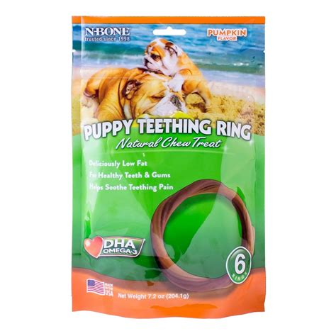 puppy teething treats n bone usa pumpkin flavored puppy teething ring treats 6 count naturalpetwarehouse