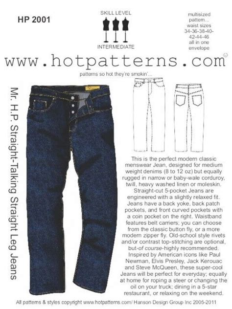 pattern for jeans men s jeans pattern from hotpatterns sewing stuff