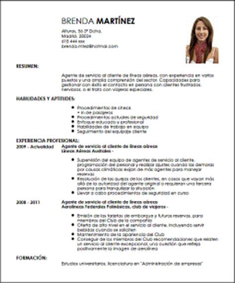 Modelo Actual De Curriculum Vitae 2016 Modelo Cv Agente De Servicio Al Cliente En Aerol 237 Neas Livecareer