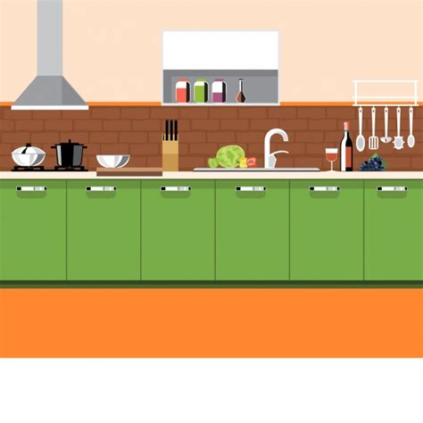 Kitchen Vector Kitchen With Elements Vector Free