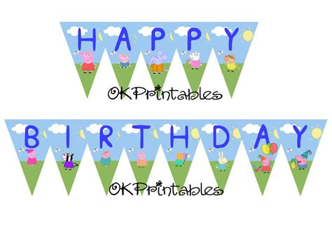 Peppa Pig Flag Birthday peppa pig banner peppa pig birthday banner okprintables