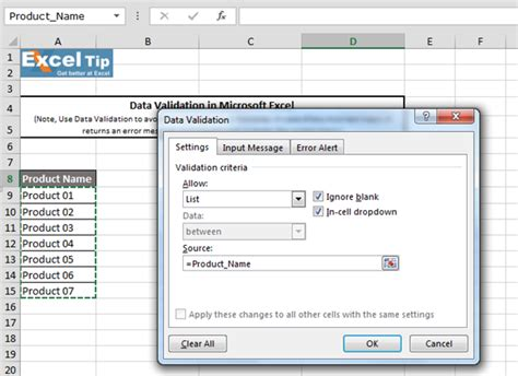 tutorial excel data validation how to create drop down list with data validation in excel