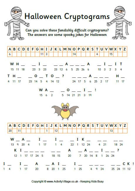 printable halloween logic puzzles halloween cryptograms 2