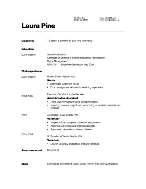 Resume Simple Sle Format Doc 693471 Basic Resume Format Template Bizdoska