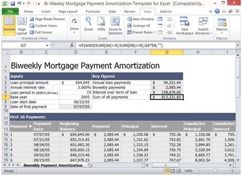 bi weekly mortgage payment amortization template for excel