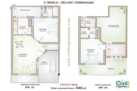 engineering plan house floor plan 3 marla delux floorplan civil engineers pk