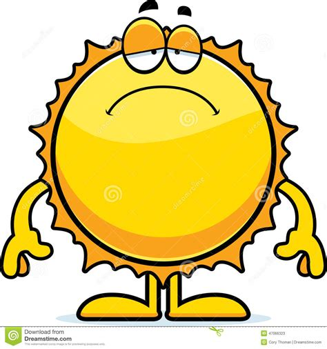 sunlight l for sad sad cartoon sun stock vector image 47066323