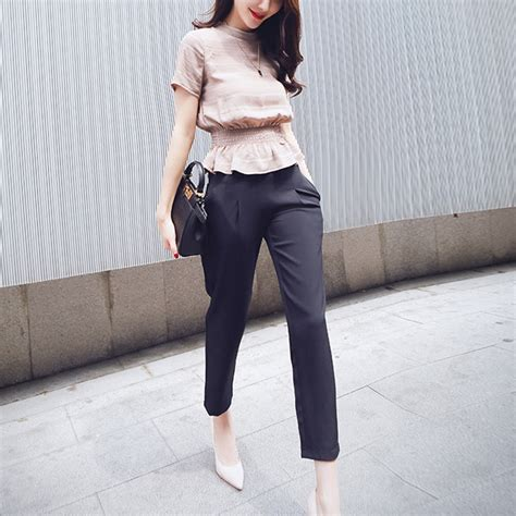 Korea Fashion 2016 clothing set 2016 korea fashion slim wasp waisted tops set casual sleeve o