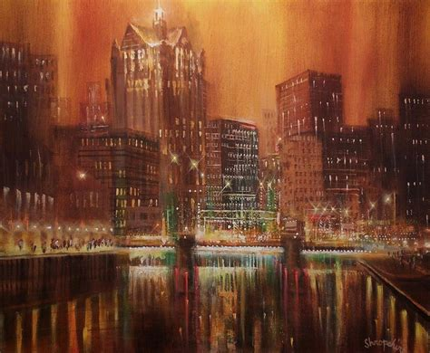 paint nite milwaukee milwaukee river downtown painting by tom shropshire